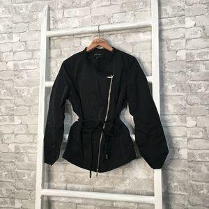 Lafayette 148 Asymmetrical Zip Black Jacket 12